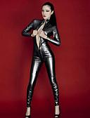 povoljno Zentai odijela-Sjajna zentai odijela Catsuit Odijelo za kožu Djevojka za motocikle Odrasli Koža Lateks Cosplay Nošnje Integrirani Style Spol Halloween Žene Crn Jednobojni Halloween Karneval Valentinovo