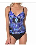 זול בגדי ים במידות גדולות-כתום XL XXL XXXL גיאומטרי, בגדי ים טנקיני נועזת משולש כתום סגול פוקסיה כתפיה ספורטיבי בגדי ריקוד נשים / סקסית