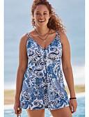 זול בגדי ים במידות גדולות-פול XXL XXXL XXXXL פרחוני, בגדי ים טנקיני נועזת פול תלתן פוקסיה כתפיה בסיסי בגדי ריקוד נשים / סקסית