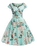 povoljno Obiteljski komplet odjeće-Žene Slim Swing kroj Haljina - Cvijetan Print, Geometrijski oblici V izrez Midi