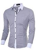 baratos Camisas Masculinas-Homens Camisa Social - Trabalho Negócio / Básico Sólido Algodão Colarinho Clássico Delgado Preto / Manga Longa / Outono