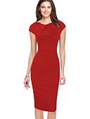Χαμηλού Κόστους Επαγγελματικά Φορέματα-Γυναικεία Πάρτι Εξόδου Βασικό Μοντέρνα Εφαρμοστό Θήκη Φόρεμα - Πουά Γεωμετρικό Μονόχρωμο Ως το Γόνατο Ψηλή Μέση / Sexy
