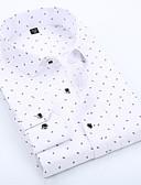 baratos Camisas Masculinas-Homens Camisa Social - Trabalho Negócio / Básico Estampado, Poá / Geométrica Algodão Colarinho Italiano Delgado Azul / Manga Longa / Primavera / Outono