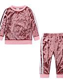 ราคาถูก เสื้อผ้าสำหรับเด็กทารกผู้หญิง-ทารก เด็กผู้หญิง ไม่เป็นทางการ / พื้นฐาน ทุกวัน / Sport สีพื้น แขนยาว ปกติ ปกติ ฝ้าย ชุดเสื้อผ้า ทับทิม / Toddler