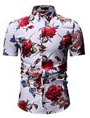 baratos Camisas Masculinas-Homens Camisa Social Estampado, Floral Colarinho Clássico Branco / Manga Curta