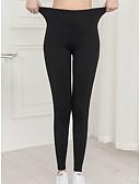ราคาถูก เลกกิ้ง-สำหรับผู้หญิง พื้นฐาน ที่ปกคลุมขา - สีพื้น, ลายพิมพ์ ข้อมือระดับกลาง สีดำ L XL XXL