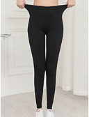 baratos Leggings para Mulheres-Mulheres Básico Legging - Sólido, Estampado Cintura Média Preto L XL XXL