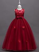 Χαμηλού Κόστους Λουλουδάτα φορέματα για κορίτσια-Γραμμή Α Μακρύ Φόρεμα για Κοριτσάκι Λουλουδιών - Πολυεστέρας / Πολυεστέρας / Βαμβάκι Αμάνικο Με Κόσμημα με Κέντημα / Δαντέλα / Πεταλούδα