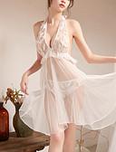 ราคาถูก เสื้อคลุมและชุดนอน-สำหรับผู้หญิง เปิดหลัง ซูเปอร์เซ็กซี่ ชุด เสื้อนอน สีพื้น ขาว ขนาดเดียว / คล้องไหล่