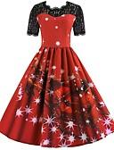 povoljno Ženske haljine-Zima Božićna haljina Žene Japanski Cosplay Kostimi Crvena Print Vintage Kratkih rukava