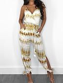 ราคาถูก จั๊มสูทและเสื้อคลุมสำหรับผู้หญิง-สำหรับผู้หญิง ปาร์ตี้ / ไปเที่ยว คอวี ขาว สีเหลือง ดินสอ เพรียวบาง ชุด Jumpsuits Onesie, รูปเรขาคณิต S M L เสื้อไม่มีแขน ฤดูใบไม้ผลิ ฤดูร้อน
