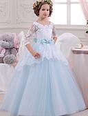 זול שמלות לבנות-נסיכה עד הריצפה שמלה לנערת הפרחים  - תחרה / טול / מיקאדו שרוול 4\3 צווארון מרובע עם פפיון(ים) / תחרה / שחבור על ידי LAN TING Express