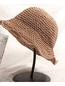 olcso Női kalapok-Női Egyszínű Szalma,Alap-Szalmakalap Tengerészkék Szürke Khakizöld