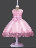 זול שמלות לילדות פרחים-גזרת A עד הריצפה שמלה לנערת הפרחים  - תחרה / טול / נצנצים ללא שרוולים עם תכשיטים עם ריקמה / תחרה / קצוות על ידי U-SWEAR
