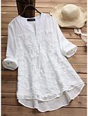ราคาถูก เสื้อเชิ้ตสำหรับสุภาพสตรี-สำหรับผู้หญิง เสื้อสตรี เพรียวบาง สีพื้น ขาว