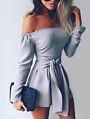 ราคาถูก จั๊มสูทและเสื้อคลุมสำหรับผู้หญิง-สำหรับผู้หญิง ทุกวัน Street Chic ไหล่ตก สีดำ สีแดงชมพู สีน้ำเงิน Romper Onesie, สีทึบ S M L แขนยาว ฤดูใบไม้ผลิ ฤดูร้อน