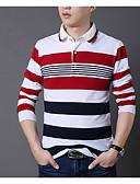 זול טישרטים לגופיות לגברים-פסים צווארון חולצה מידות גדולות טישרט - בגדי ריקוד גברים דפוס אודם / שרוול ארוך