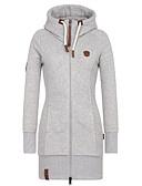ราคาถูก เสื้อฮู้ดและเสื้อกันหนาวสเว็ตเชิ้ตผู้หญิง-สำหรับผู้หญิง ขนาดพิเศษ ยาว ไปเที่ยว Hoodie สีพื้น