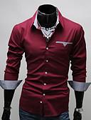 baratos Camisas Masculinas-Homens Tamanho Europeu / Americano Camisa Social - Trabalho Negócio / Básico Estampa Colorida Algodão Colarinho Clássico Branco / Manga Longa / Outono