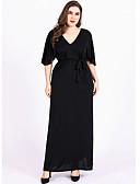 זול שמלות במידות גדולות-צווארון V מקסי שמלה שיפון משוחרר כותנה מידות גדולות בגדי ריקוד נשים
