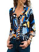 ราคาถูก เสื้อยืดสำหรับสุภาพสตรี-สำหรับผู้หญิง เสื้อสตรี คอเสื้อเชิ้ต เพรียวบาง รูปเรขาคณิต สีน้ำเงิน