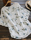 ราคาถูก เสื้อยืดและเสื้อกล้ามผู้ชาย-สำหรับผู้หญิง ขนาดพิเศษ เสื้อเชิร์ต ลายพิมพ์ คอวี ลายดอกไม้ สีน้ำเงิน