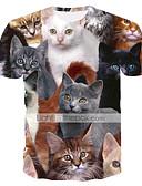 ราคาถูก ชุดว่ายน้ำ Tankini-สำหรับผู้ชาย เสื้อเชิร์ต พื้นฐาน / Street Chic ลายพิมพ์ คอกลม สัตว์ Cat สายรุ้ง / แขนสั้น
