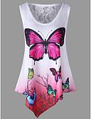 ราคาถูก เสื้อยืดสำหรับสุภาพสตรี-สำหรับผู้หญิง ขนาดพิเศษ เสื้อเชิร์ต ลูกไม้ เพรียวบาง สัตว์ Butterfly ใบไม้สีเขียวที่มีสามแฉก