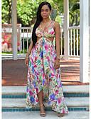 baratos Vestidos Longos-Mulheres Praia Elegante Bainha Vestido - Em Cruz Estampado, Floral Com Alças Assimétrico / Sexy