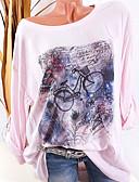 저렴한 블라우스-여성용 그래픽 플러스 사이즈 프린트 - 티셔츠, 스트리트 쉬크 블러슁 핑크