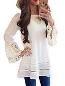billige Skjorter til damer-Tynn Store størrelser Skjorte Dame - Ensfarget, Blonde / Chiffon Svart / Vår / Sommer / Høst / Vinter