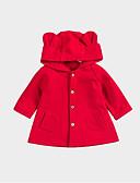 baratos Casacos para Bebês-bebê Para Meninas Básico Sólido Manga Longa Padrão Jaqueta & Casaco Vermelho