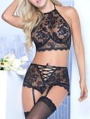 ราคาถูก เสื้อคลุมและชุดนอน-สำหรับผู้หญิง ลูกไม้ ซูเปอร์เซ็กซี่ ชุด เสื้อนอน สีพื้น สีดำ ทับทิม XL XXL XXXL / คล้องไหล่