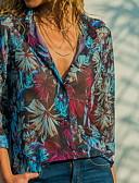 Χαμηλού Κόστους Γυναικεία σετ δυο τεμαχίων-Γυναικεία Πουκάμισο Φλοράλ Κολάρο Πουκαμίσου Θαλασσί