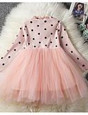 זול שמלות לתינוקות-שמלה כותנה שרוול ארוך אחיד / מנוקד בסיסי בנות תִינוֹק