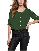 baratos Camisas Femininas-Mulheres Tamanhos Grandes Camisa Social Botão, Sólido Vinho / Primavera / Verão / Outono / Inverno
