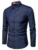 baratos Camisas Masculinas-Homens Tamanho Europeu / Americano Camisa Social - Trabalho Negócio / Básico Estampa Colorida Algodão Colarinho Clássico Azul Marinha / Manga Longa / Verão