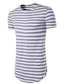 baratos Moda Íntima Exótica para Homens-Homens Camiseta Listrado Algodão Decote Redondo Vermelho / Manga Curta