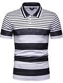 baratos Pólos Masculinas-Homens Polo Estampado, Listrado Colarinho de Camisa Branco