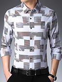 billige Herreskjorter-Bomull Skjorte Herre - Geometrisk, Lapper Grunnleggende Rød / Langermet