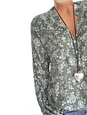 저렴한 블라우스-여성용 플로럴 V 넥 플러스 사이즈 프린트 - 티셔츠, 스트리트 쉬크 블랙