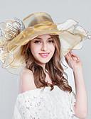 ราคาถูก หมวกสตรี-สำหรับผู้หญิง Kentucky Derby ลายแถบ Tulle สลับ,ดอกไม้ วันหยุด-หมวกบัคเก็ต หมวกปีกกว้าง ดวงอาทิตย์หมวก ฤดูใบไม้ผลิ & ฤดูใบไม้ร่วง ฤดูร้อน สีม่วง ไวน์ สีกากี