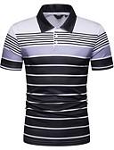ราคาถูก เสื้อโปโลสำหรับผู้ชาย-สำหรับผู้ชาย ขนาดของยุโรป / อเมริกา Polo คอเสื้อเชิ้ต เพรียวบาง ลายแถบ สีน้ำเงินกรมท่า / แขนสั้น