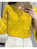 baratos Blusas Femininas-Mulheres Blusa Renda / Oco, Sólido Delgado Branco / Primavera / Verão / Outono / Inverno