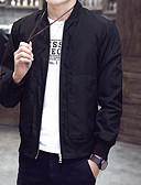 זול גברים-ג'קטים ומעילים-בגדי ריקוד גברים יומי מידות גדולות רגיל ג'קט, קולור בלוק ללא צווארון שרוול ארוך פוליאסטר פול / שחור / יין