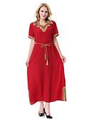Χαμηλού Κόστους Μακριά Φορέματα-Γυναικεία Πάρτι Δουλειά Βίντατζ Αμπάγια Καφτάνι Φόρεμα - Μονόχρωμο, Σκίσιμο Μίντι Λαιμόκοψη V