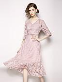 ราคาถูก Special Occasion Dresses-A-line คอวี ต่ำกว่าเข่า ลูกไม้ ตัดออก ทางการ แต่งตัว กับ ปักลายปัก โดย LAN TING Express / ภาพลวงตา