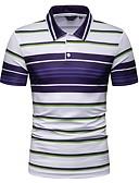 ราคาถูก เสื้อโปโลสำหรับผู้ชาย-สำหรับผู้ชาย ขนาดของยุโรป / อเมริกา Polo คอเสื้อเชิ้ต เพรียวบาง ลายแถบ สีน้ำเงิน / แขนสั้น