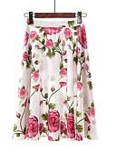 זול חצאיות לנשים-פרחוני - חצאיות גזרת A בסיסי בגדי ריקוד נשים מותניים גבוהים לבן L XL XXL