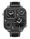 ราคาถูก นาฬิกาข้อมือหรูหรา-Oulm สำหรับผู้ชาย นาฬิกาข้อมือ ญี่ปุ่น นาฬิกาอิเล็กทรอนิกส์ (Quartz) หนัง ดำ เครื่องวัดอุณหภูมิ เข็มทิศ แสดงสองเวลา ระบบอนาล็อก ความหรูหรา แฟชั่น - สีดำ หนึ่งปี อายุการใช้งานแบตเตอรี่ / Jinli 377